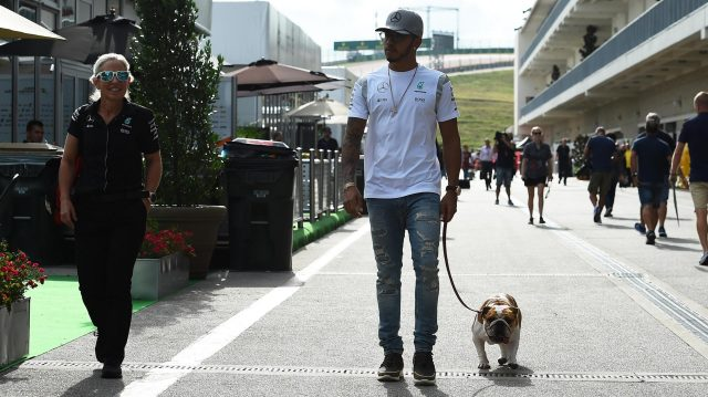 Lewis Hamilton (GBR) Mercedes AMG F1 with his dog Roscoe at Formula One World Championship, Rd18, United States Grand Prix, Preparations, Circuit of the Americas, Austin, Texas, USA, Thursday 20 October 2016. &copy&#x3b; Sutton Images