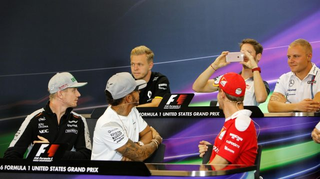 (L to R): Kevin Magnussen (DEN) Renault Sport F1 Team, Romain Grosjean (FRA) Haas F1, Valtteri Bottas (FIN) Williams, Nico Hulkenberg (GER) Force India F1, Lewis Hamilton (GBR) Mercedes AMG F1 and Sebastian Vettel (GER) Ferrari in the Press Conference at Formula One World Championship, Rd18, United States Grand Prix, Preparations, Circuit of the Americas, Austin, Texas, USA, Thursday 20 October 2016. &copy&#x3b; Sutton Images