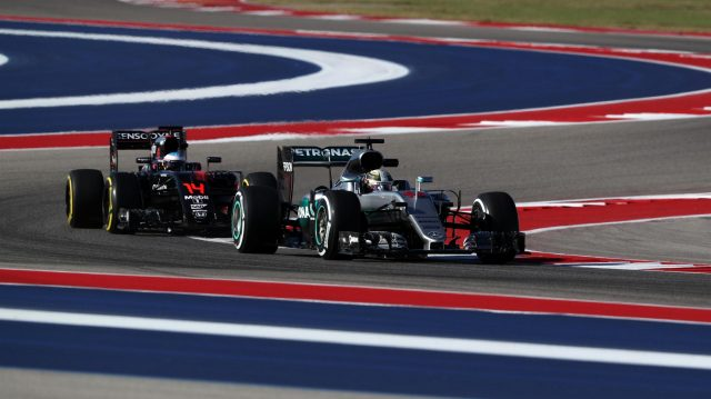 Lewis Hamilton (GBR) Mercedes-Benz F1 W07 Hybrid and Fernando Alonso (ESP) McLaren MP4-31 at Formula One World Championship, Rd18, United States Grand Prix, Practice, Circuit of the Americas, Austin, Texas, USA, Friday 21 October 2016. &copy&#x3b; Sutton Images