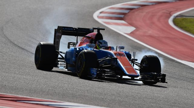 Jordan King (GBR) Manor Racing MRT05 locks up at Formula One World Championship, Rd18, United States Grand Prix, Practice, Circuit of the Americas, Austin, Texas, USA, Friday 21 October 2016. &copy&#x3b; Sutton Images