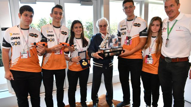 Bernie Ecclestone (GBR) CEO Formula One Group (FOM) presents the F1 in Schools Winning Trophy to Infinite Racing from Greece at Formula One World Championship, Rd18, United States Grand Prix, Practice, Circuit of the Americas, Austin, Texas, USA, Friday 21 October 2016. &copy&#x3b; Sutton Images