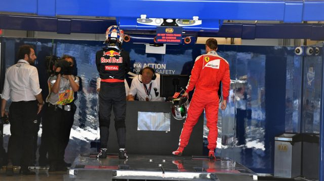 Daniel Ricciardo (AUS) Red Bull Racing and Sebastian Vettel (GER) Ferrari in parc ferme at Formula One World Championship, Rd18, United States Grand Prix, Qualifying, Circuit of the Americas, Austin, Texas, USA, Saturday 22 October 2016. &copy&#x3b; Sutton Images