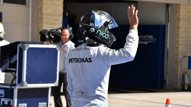 Nico Rosberg (GER) Mercedes AMG F1 celebrates in parc ferme at Formula One World Championship, Rd18, United States Grand Prix, Qualifying, Circuit of the Americas, Austin, Texas, USA, Saturday 22 October 2016. &copy&#x3b; Sutton Images
