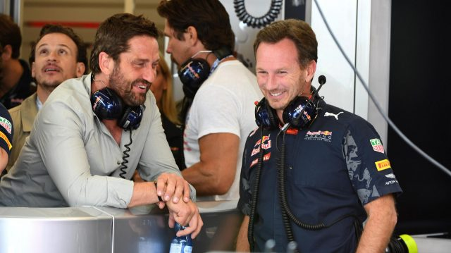 Gerard Butler (GBR) Actor and Christian Horner (GBR) Red Bull Racing Team Principal at Formula One World Championship, Rd18, United States Grand Prix, Qualifying, Circuit of the Americas, Austin, Texas, USA, Saturday 22 October 2016. &copy&#x3b; Sutton Images