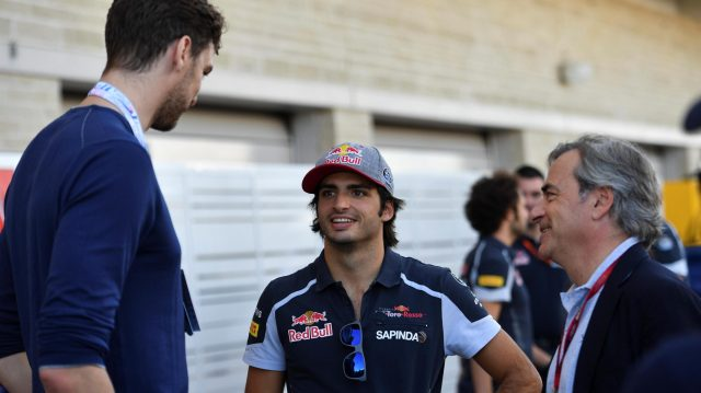 Pau Gasol (ESP) San Antonio Spurs Basketball Player with Carlos Sainz jr (ESP) Scuderia Toro Rosso and Carlos Sainz (ESP) at Formula One World Championship, Rd18, United States Grand Prix, Qualifying, Circuit of the Americas, Austin, Texas, USA, Saturday 22 October 2016. &copy&#x3b; Sutton Images