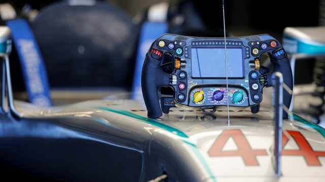 Mercedes-Benz F1 W07 Hybrid Steering wheel at Formula One World Championship, Rd18, United States Grand Prix, Qualifying, Circuit of the Americas, Austin, Texas, USA, Saturday 22 October 2016. &copy&#x3b; Sutton Images