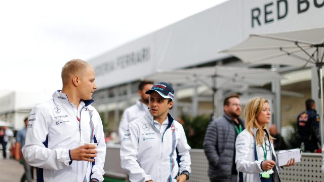 Valtteri Bottas (FIN) Williams and Felipe Massa (BRA) Williams at Formula One World Championship, Rd18, United States Grand Prix, Race, Circuit of the Americas, Austin, Texas, USA, Sunday 23 October 2016. &copy&#x3b; Sutton Images