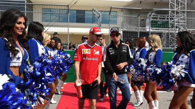 Sebastian Vettel (GER) Ferrari and Sergio Perez (MEX) Force India on the drivers parade at Formula One World Championship, Rd18, United States Grand Prix, Race, Circuit of the Americas, Austin, Texas, USA, Sunday 23 October 2016. &copy&#x3b; Sutton Images