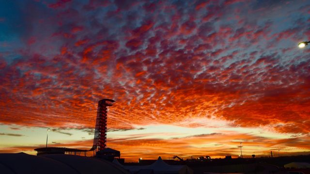 Sunrise and vewing tower at Formula One World Championship, Rd18, United States Grand Prix, Race, Circuit of the Americas, Austin, Texas, USA, Sunday 23 October 2016. &copy&#x3b; Sutton Images