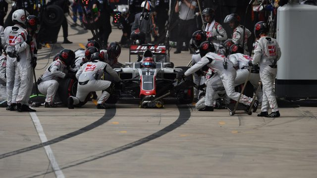 Romain Grosjean (FRA) Haas VF-16 pit stop at Formula One World Championship, Rd18, United States Grand Prix, Race, Circuit of the Americas, Austin, Texas, USA, Sunday 23 October 2016. &copy&#x3b; Sutton Images