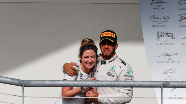 Victoria Vowles (GBR) Mercedes AMG F1 Partner Services Director and Lewis Hamilton (GBR) Mercedes AMG F1 celebrate on the podium at Formula One World Championship, Rd18, United States Grand Prix, Race, Circuit of the Americas, Austin, Texas, USA, Sunday 23 October 2016. &copy&#x3b; Sutton Images