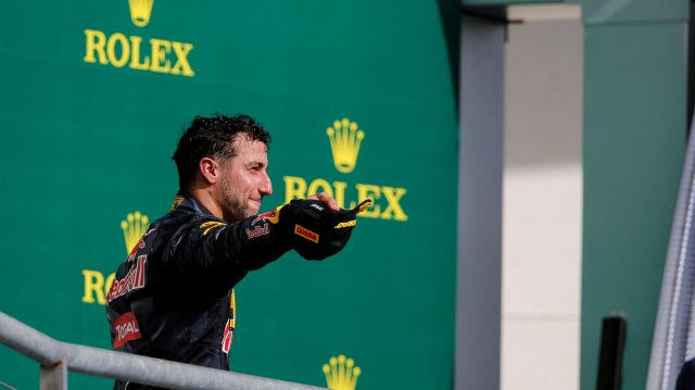 Daniel Ricciardo (AUS) Red Bull Racing celebrates on the podium at Formula One World Championship, Rd18, United States Grand Prix, Race, Circuit of the Americas, Austin, Texas, USA, Sunday 23 October 2016. &copy&#x3b; Sutton Images