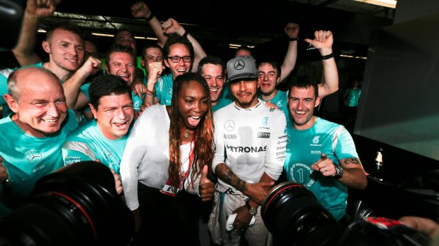 Race winner Lewis Hamilton (GBR) Mercedes AMG F1 celebrates with Venus Williams (USA) Tennis PLayer and the team at Formula One World Championship, Rd18, United States Grand Prix, Race, Circuit of the Americas, Austin, Texas, USA, Sunday 23 October 2016. &copy&#x3b; Sutton Images