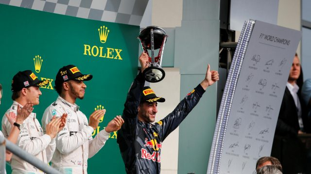 Daniel Ricciardo (AUS) Red Bull Racing celebrates on the podium with the trophy at Formula One World Championship, Rd18, United States Grand Prix, Race, Circuit of the Americas, Austin, Texas, USA, Sunday 23 October 2016. &copy&#x3b; Sutton Images