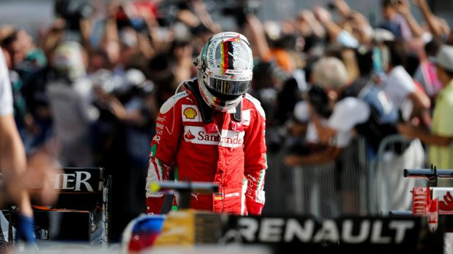 Sebastian Vettel (GER) Ferrari in parc ferme at Formula One World Championship, Rd18, United States Grand Prix, Race, Circuit of the Americas, Austin, Texas, USA, Sunday 23 October 2016. &copy&#x3b; Sutton Images