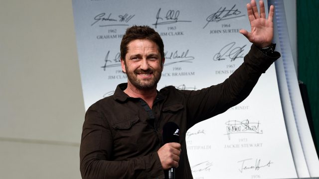 Gerard Butler (GBR) Actor on the podium on the podium at Formula One World Championship, Rd18, United States Grand Prix, Race, Circuit of the Americas, Austin, Texas, USA, Sunday 23 October 2016. &copy&#x3b; Sutton Images