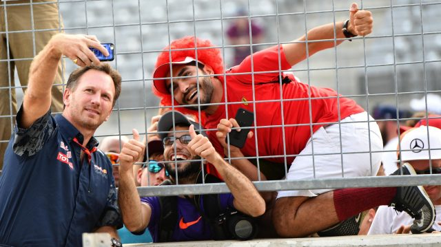Christian Horner (GBR) Red Bull Racing Team Principal selfie with fans at Formula One World Championship, Rd18, United States Grand Prix, Race, Circuit of the Americas, Austin, Texas, USA, Sunday 23 October 2016. &copy&#x3b; Sutton Images