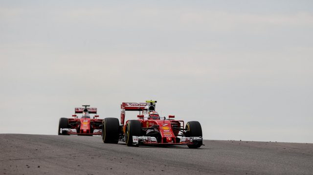 Kimi Raikkonen (FIN) Ferrari SF16-H and Sebastian Vettel (GER) Ferrari SF16-H at Formula One World Championship, Rd18, United States Grand Prix, Race, Circuit of the Americas, Austin, Texas, USA, Sunday 23 October 2016. &copy&#x3b; Sutton Images