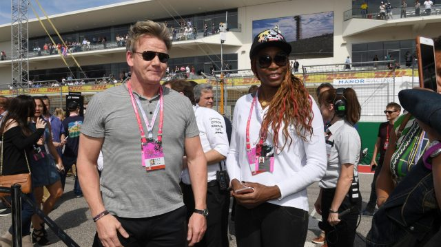 Gordon Ramsay (GBR) Chef and Venus Williams (USA) Tennis player on the grid at Formula One World Championship, Rd18, United States Grand Prix, Race, Circuit of the Americas, Austin, Texas, USA, Sunday 23 October 2016. &copy&#x3b; Sutton Images