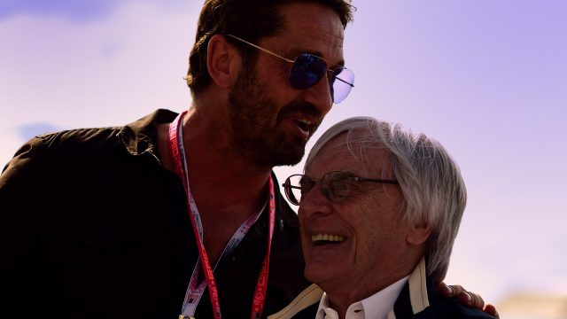 Actor Gerard Butler with Formula One group CEO Bernie Ecclestone, 2016 Formula 1 United States Grand Prix, Austin &copy&#x3b; FOWC Ltd