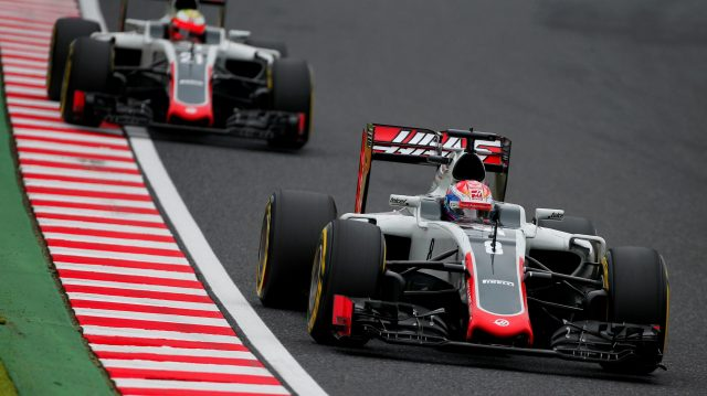 Romain Grosjean (FRA) Haas VF-16 and Esteban Gutierrez (MEX) Haas VF-16 at Formula One World Championship, Rd17, Japanese Grand Prix, Qualifying, Suzuka, Japan, Saturday 8 October 2016. &copy&#x3b; Sutton Images