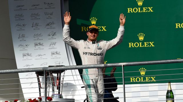 Nico Rosberg (GER) Mercedes AMG F1 celebrates on the podium at Formula One World Championship, Rd18, United States Grand Prix, Race, Circuit of the Americas, Austin, Texas, USA, Sunday 23 October 2016. &copy&#x3b; Sutton Images