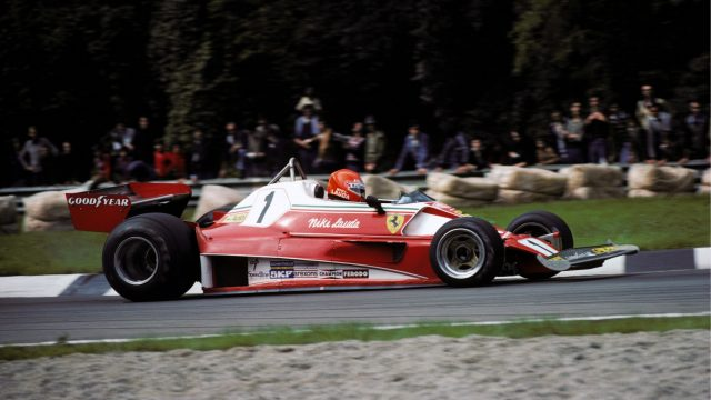Ferrari stuck to a similar livery in 1976 with the 312T2, though the white was  less prominent without the tall airbox. Following his fiery accident at the Nurburgring, Lauda missed out on the drivers' title to James Hunt, but the Prancing Horse did claim a second consecutive constructors' title. &copy&#x3b; Sutton Motorsport Images
