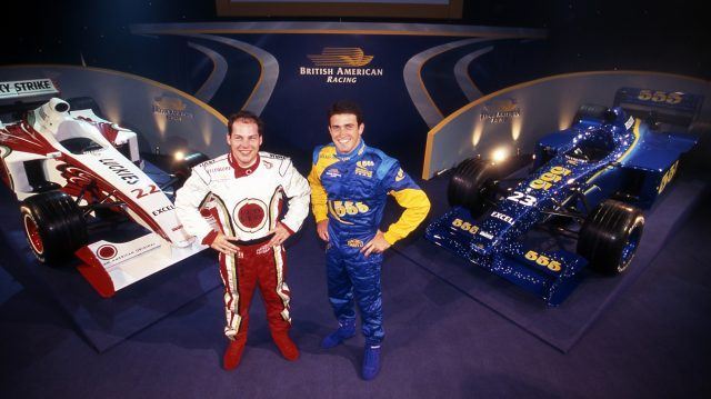 Jacques Villeneuve (CDN) and Riccardo Zonta (BRA) with their dual-liveried cars at British American Racing's 1999 Launch, BAR Factory, Brackley, England, 6 January 1999. &copy&#x3b; Sutton Motorsport Images