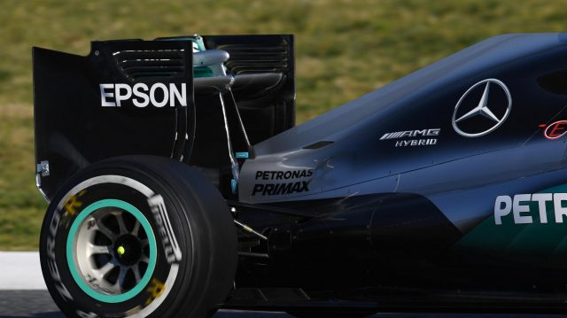 Mercedes-Benz F1 W07 Hybrid rear wing at Formula One Testing, Day One, Barcelona, Spain, Tuesday 1 March 2016. &copy&#x3b; Sutton Motorsport Images
