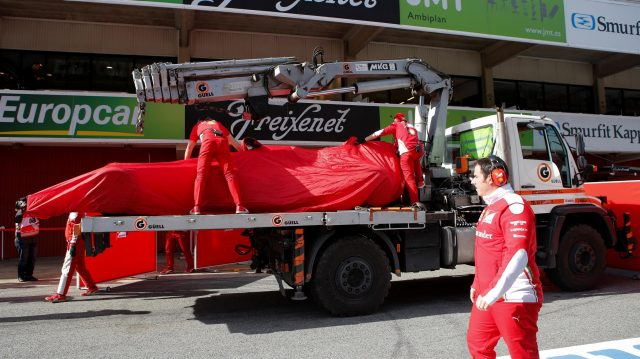 The car of Kimi Raikkonen (FIN) Ferrari SF16-H is recovered to the pits at Formula One Testing, Day One, Barcelona, Spain, Tuesday 1 March 2016. &copy&#x3b; Sutton Motorsport Images