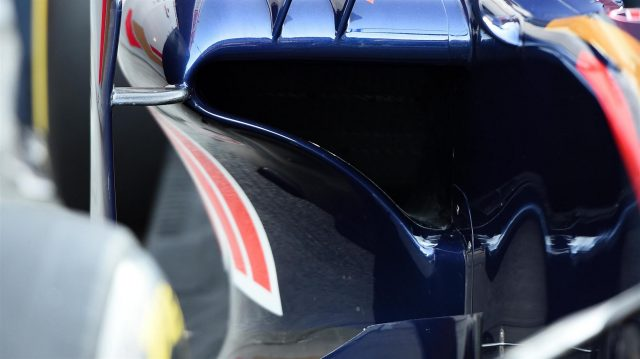 Scuderia Toro Rosso STR11 sidepod detail at Formula One Testing, Day One, Barcelona, Spain, Tuesday 1 March 2016. &copy&#x3b; Sutton Motorsport Images