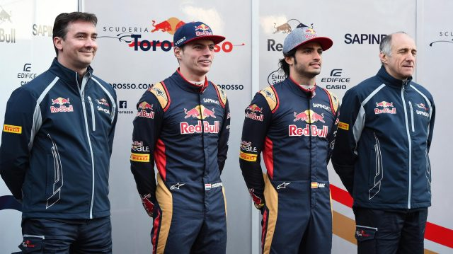 (L to R): James Key (GBR) Scuderia Toro Rosso Technical Director, Max Verstappen (NED) Scuderia Toro Rosso, Carlos Sainz jr (ESP) Scuderia Toro Rosso and Franz Tost (AUT) Scuderia Toro Rosso Team Principal at Formula One Testing, Day One, Barcelona, Spain, Tuesday 1 March 2016. &copy&#x3b; Sutton Motorsport Images