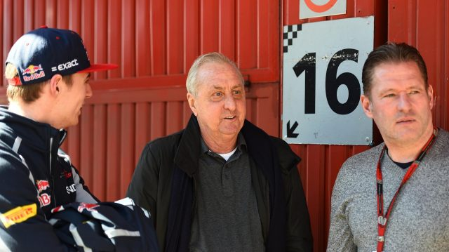 Johan Cruyff (NED) with Max Verstappen (NED) Scuderia Toro Rosso and Jos Verstappen (NED) at Formula One Testing, Day Two, Barcelona, Spain, Wednesday 2 March 2016. &copy&#x3b; Sutton Motorsport Images