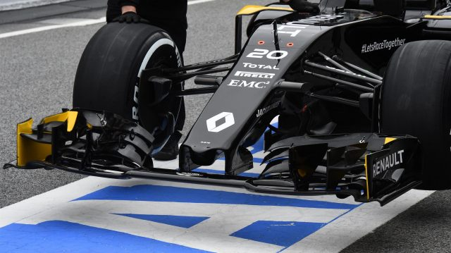 Renault Sport F1 Team RS16 nose and front wing at Formula One Testing, Day Two, Barcelona, Spain, Wednesday 2 March 2016. &copy&#x3b; Sutton Motorsport Images