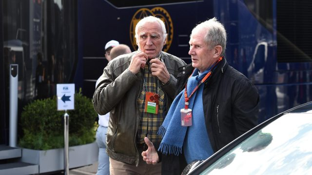 Dietrich Mateschitz (AUT) CEO and Founder of Red Bull and Dr Helmut Marko (AUT) Red Bull Motorsport Consultant at Formula One Testing, Day Two, Barcelona, Spain, Wednesday 2 March 2016. &copy&#x3b; Sutton Motorsport Images