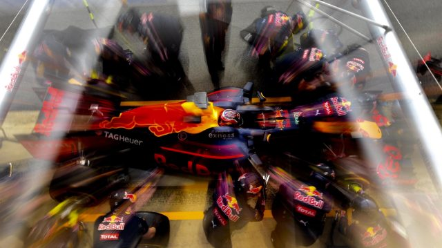 Daniil Kvyat (RUS) Red Bull Racing RB12 makes a pit stop at Formula One Testing, Day Three, Barcelona, Spain, Thursday 3 March 2016. &copy&#x3b; Sutton Motorsport Images