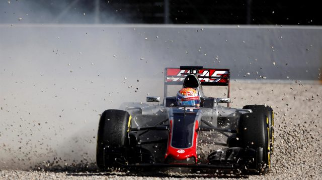 Romain Grosjean (FRA) Haas VF-16 spins into the gravel at Formula One Testing, Day Three, Barcelona, Spain, Thursday 3 March 2016. &copy&#x3b; Sutton Motorsport Images