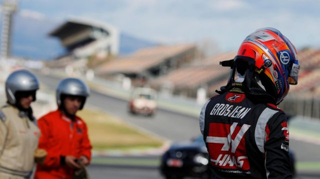 Romain Grosjean (FRA) Haas F1 after spinning into the gravel at Formula One Testing, Day Three, Barcelona, Spain, Thursday 3 March 2016. &copy&#x3b; Sutton Motorsport Images