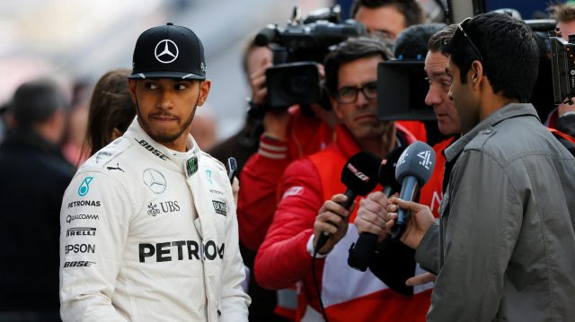 Lewis Hamilton (GBR) Mercedes AMG F1 talks with the media at Formula One Testing, Day Four, Barcelona, Spain, Friday 4  March 2016. &copy&#x3b; Sutton Motorsport Images