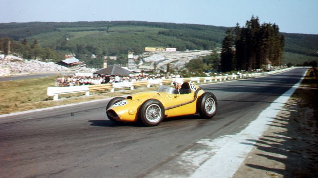 Olivier Gendebien (Ferrari Dino 246) 6th position. Spa-Francorchamps, Belgium.