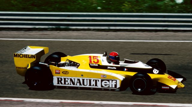 Jean-Pierre Jabouille (FRA) in the new Renault RS10, retired from the race on lap 22 with a turbo leak.Spanish Grand Prix, Rd 5, Jarama, Spain, 29 April 1979.