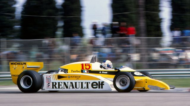 Alain Prost (FRA), Renault RE20, retired with gearbox failure.