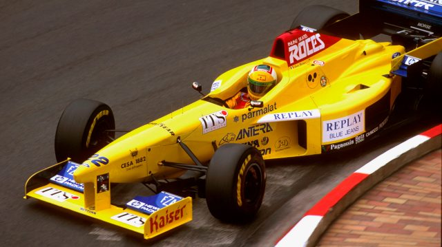 Luca Badoer (Forti FG03 96 Ford) at Loews Hairpin. He failed to finish the race after crashing into Villeneuve. Monte Carlo, Monaco.16-19 May 1996. &copy&#x3b; LAT Photographic