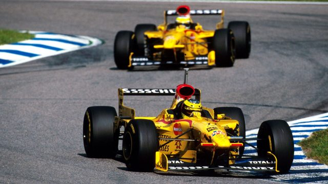 Ralf Schumacher (GER) Jordan 197, 5th place  leads his team mate Giancarlo Fisichella (ITA) Jordan, German Grand Prix, Hockenheim, Germany, 27 July 1997. &copy&#x3b; Sutton Motorsport Images