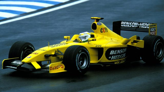 Giancarlo Fisichella (ITA), Jordan Ford EJ13, won the Brazilian Grand Prix, the 200th Formula One race for the Jordan team. Brazilian Grand Prix, Interlagos, Sao Paulo, Brazil. 6 April 2003. ©Sutton Motorsport Images