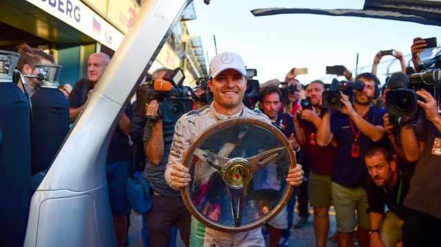 Race winner Nico Rosberg (GER) Mercedes AMG F1 celebrates with the trophy at at Formula One World Championship, Rd1, Australian Grand Prix, Race, Albert Park, Melbourne, Australia, Sunday 20 March 2016. &copy&#x3b; Sutton Motorsport Images