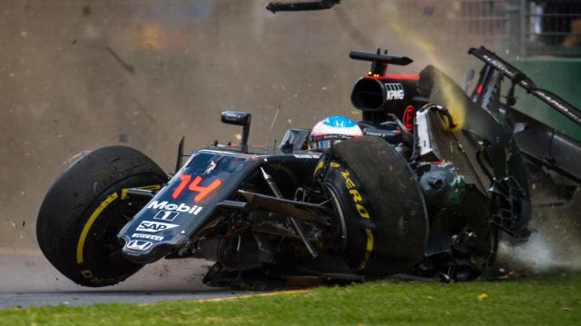Fernando Alonso (ESP) McLaren MP4-31 crashes at Formula One World Championship, Rd1, Australian Grand Prix, Race, Albert Park, Melbourne, Australia, Sunday 20 March 2016. &copy&#x3b; Sutton Motorsport Images