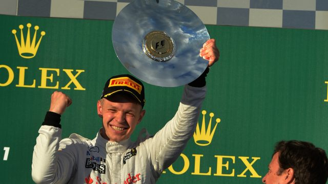 McLaren sprang a surprise ahead of the 2014 season when they announced <b>Kevin Magnussen's</b> arrival in place of Sergio Perez. The Dane, a long-term McLaren protege who had clinched the Formula Renault 3.5 crown in 2013, silenced any doubters in style. After out-qualifying team mate Jenson Button in Australia - Magnussen started fourth, Button 10th - Magnussen ran in the top three almost throughout, finishing just 2s shy of Daniel Ricciardo in the fight for second. The good news didn't stop there: Ricciardo was subsequently excluded, promoting Magnussen to a heady second. &copy&#x3b; Sutton Motorsport Images