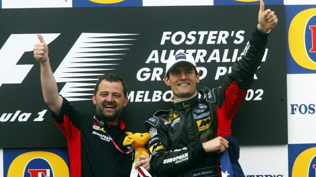Officially no Australian has made it to the podium on home soil, though <b>Mark Webber</b> did receive a deserved curtain call on the Melbourne rostrum in 2002 after a stellar maiden outing for perennial backmarkers Minardi. In a race in which only eight of the 22 starters took the flag, Webber finished a fine fifth from 18th on the grid, bullishly holding off the challenge of Mika Salo's faster Toyota in the closing stages. &copy&#x3b; Sutton Motorsport Images