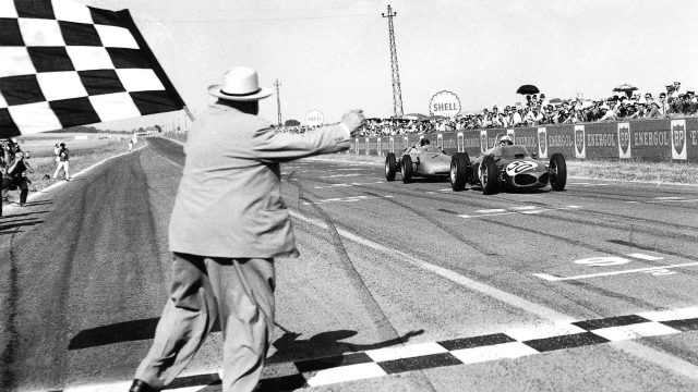 Strictly speaking, <b>Giancarlo Baghetti</b> had competed - and won - in non-championship F1 races before making his official Grand Prix debut at Reims in 1961. But take nothing away from the Italian, who made full use of his Shark-nosed Ferrari's brutish straight-line speed to out-drag Dan Gurney's Porsche and win his very first points-paying race - a feat never achieved in the top flight before or since. © LAT Photographic